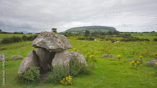 Sticker Irish landscape with the mountain Knocknarea on background
