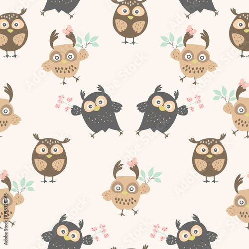 Tuinposter Uilen cartoon Seamless pattern with owls. Cute ornament with owls for textiles. packaging, Wallpaper, covers.