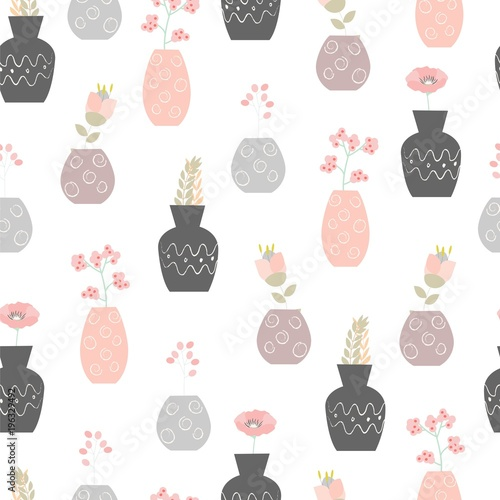 Seamless floral pattern. Cute vector ornament with flowers in vases. - 196329492