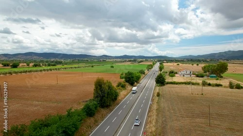 mata magnetyczna Aerial flight over the road