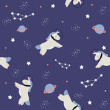 Seamless pattern with unicorn in open space. Vector hand drawn illustration. - 196329665