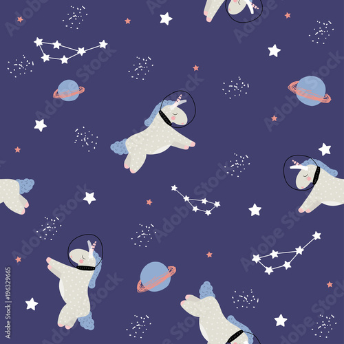 Cotton fabric Seamless pattern with unicorn in open space. Vector hand drawn illustration.