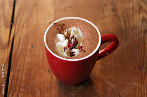 Fotobehang Chocolade hot chocolate with rose aroma