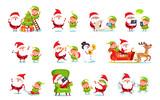Santa Claus Activities Set Vector Illustration