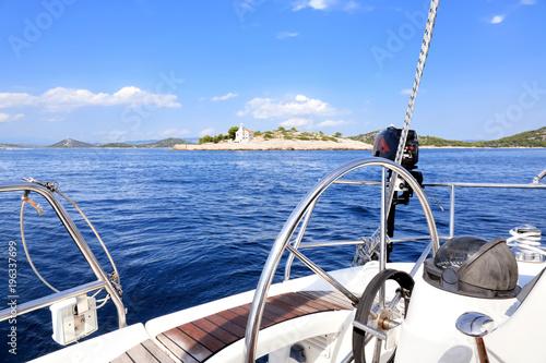 Fotobehang Zeilen Sailing in Mediterranean sea, Croatia