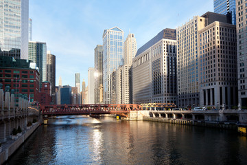 Chicago, Illinois, United States - May 04, 2011: View of Chicago River at at downtown at sunrise.