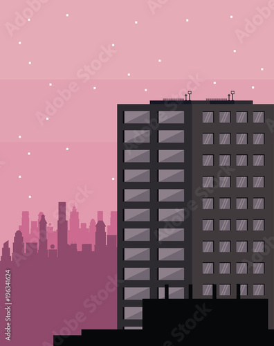 Wall mural Buildings cityscape at night vector illustration graphic design