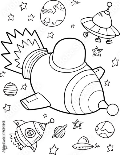 Foto op Canvas Cartoon draw Rocket Outer Space Vector Illustration Art