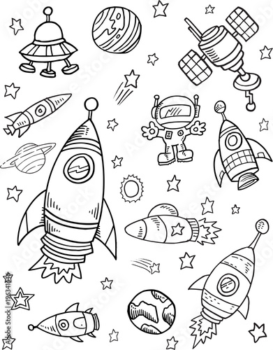 Foto op Canvas Cartoon draw Space Vector Illustration Art