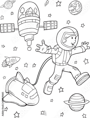 Foto op Canvas Cartoon draw Astronaut Space Walk Vector Illustration Art