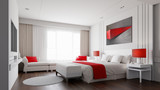 Hotel room with color concept 3d rendering - 196344620