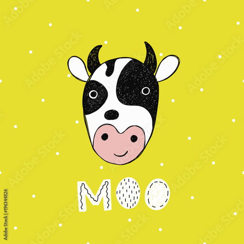 Vector poster with hand drawn funny cow. - 196344826