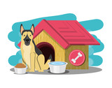dog house with german sheperd over white background, colorful design vector illustration - 196347490