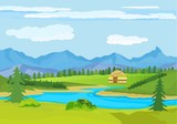 Kazakhstan countryside, farm, village, flowers, green hills and mountains, blue clouds, forest. Cartoon style, vector illustration - 196347653