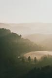 valley in morning mist - 196347833