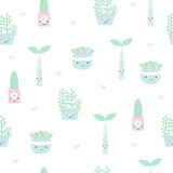 Seamless pattern with house plants in pots. Vector hand drawn illustration. - 196348454