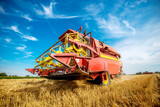 Giant red and yellow combine harvester standing in the middle of a wheat field beneath a blue sky. - 196352488