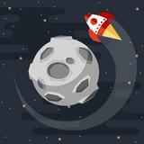 rocket is flying around the moon. vector cartoon illustration