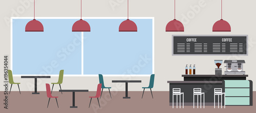 Poster coffee shop interior window chair table machine latte vector illustration