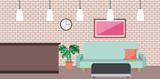 coffee shop interior comfort sofa picture clock and pot plant vector illustration - 196354207