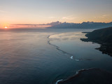 Aerial view of Tahiti coastline at sunset. - 196355853