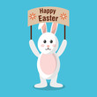 happy easter rabbit holding placard celebration vector illustration