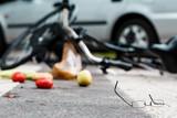 Broken glasses on street