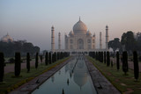 The Taj Mahal at sunrise in the first light in Agra in India