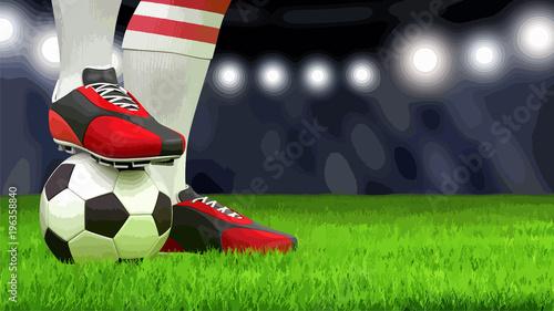 Foto op Aluminium Bol Man with a soccer ball on grass