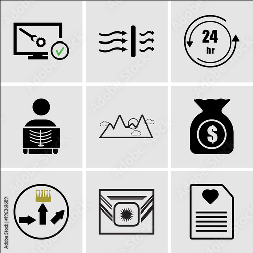 f7a060b9 Set Of 9 simple editable icons such as wishlist, Airforce, leaderboard,  accounts payable
