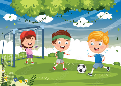 Keuken foto achterwand Pistache Vector Illustration Of Kid Playing Football