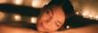 Leinwanddruck Bild - Luxury spa massage woman. Pampering whirlpool jacuzzi lifestyle girl relaxing in hot water banner panorama.