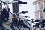 WARSAW, POLAND - March 2018 - Group of rental bikes standing in center city of Warsaw.