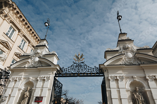 WARSAW, POLAND - March 2018 - Entrance to the University of Warsaw, Poland.