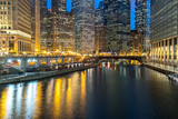 Chicago downtown night skyline buildings - 196372039