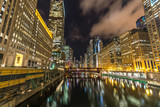 Chicago downtown night skyline buildings - 196372098