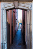 gateway to an alley in the old town of Cologne