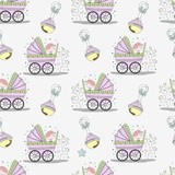 Seamless pattern with children's elements. Perfect for a Baby Shower. Baby cards, packaging and labels. Vector illustration