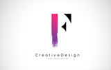 F Letter Logo Design with Creative Pink Purple Brush Stroke