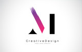 M Letter Logo Design with Creative Pink Purple Brush Stroke.