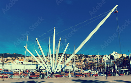 Deurstickers Liguria Picture of old port of Genova city at coast line