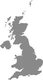 Map of United Kingdom split into individual countries. - 196386066