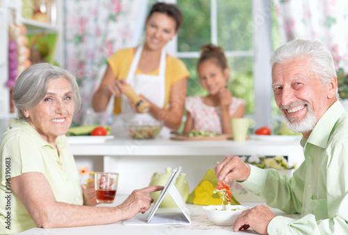 senior couple having dinner - 196390683