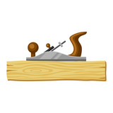Jointer and wood plank. Illustration for forestry and lumber industry