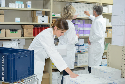 Foto op Plexiglas Apotheek inspecting the pharmaceutical stocks