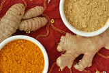 Powder and roots of turmeric and ginger - 196398871