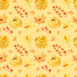 Yellow summer flowers seamless pattern with beautiful orange floral illustrations for creating of wedding card, boho vintage invitation, poster and web banner background. - 196399669