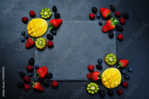 Fruits and berries Black Frame - 196401413