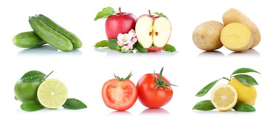 Obst und Gemüse Früchte viele Apfel Tomaten Zitrone Farben Freisteller freigestellt isoliert