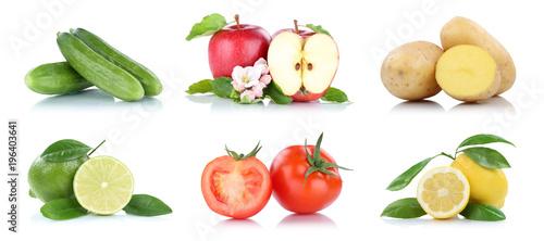 Keuken foto achterwand Verse groenten Obst und Gemüse Früchte viele Apfel Tomaten Zitrone Farben Freisteller freigestellt isoliert